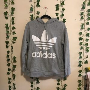 Adidas Originals Trefoil Gray Logo Hoodie